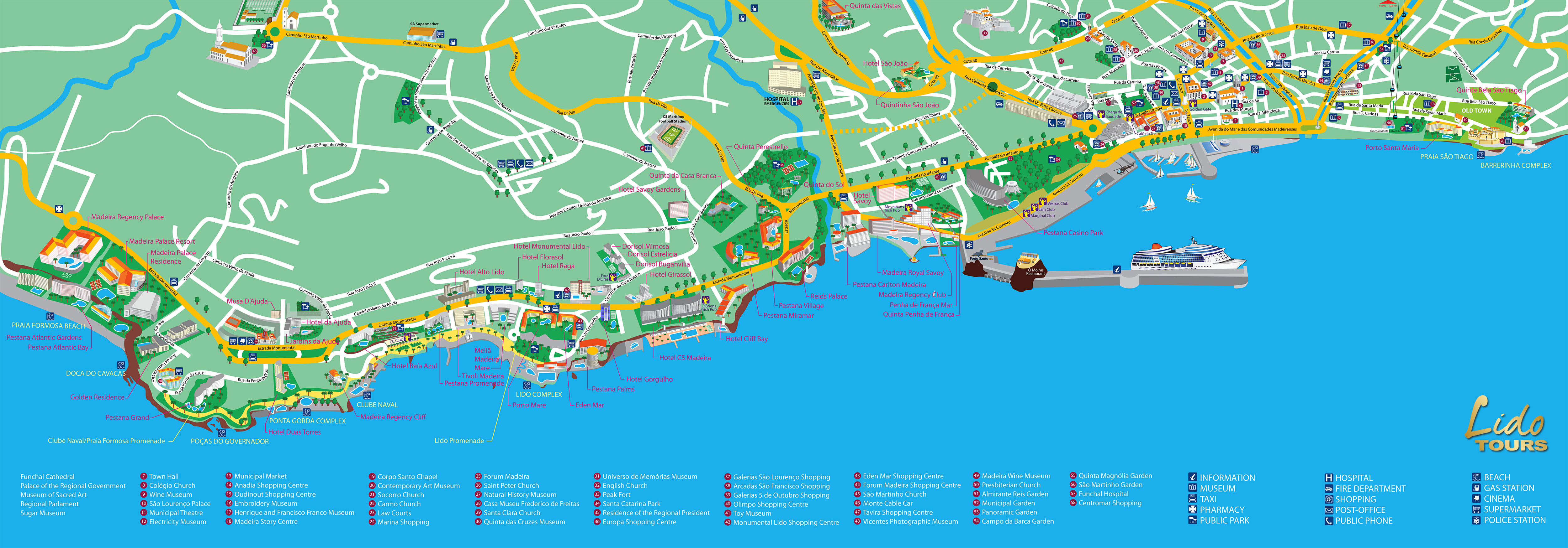 mapa do funchal madeira Madeira tours map and Funchal hotel map mapa do funchal madeira
