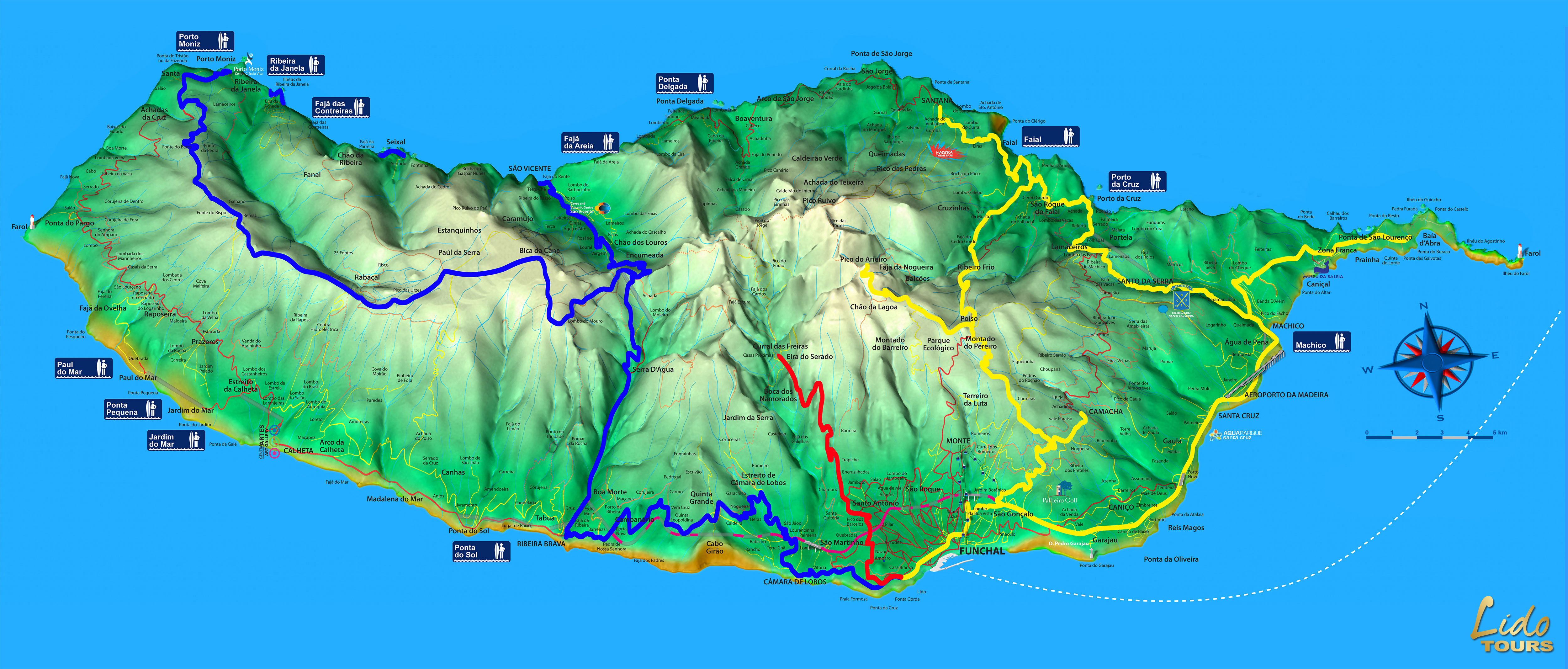 Madeira Tours Map And Funchal Hotel Map